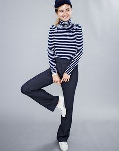 J.Crew women's striped tissue turtleneck T-shirt, Preston pant, beanie and SeaVees® for J.Crew 06/67 Monterey sneakers in white leather.