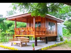 Home Terrace Garden Inspirations, You Must Like It! Wooden House Design, Bamboo House Design, Tropical House Design, Small Wooden House, Simple House Design, Modern Tiny House, Tiny House Cabin, Tiny House Design, Tropical Houses