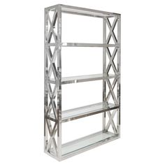 Worlds Away Clifton Stainless Steel Etagere @Zinc_Door
