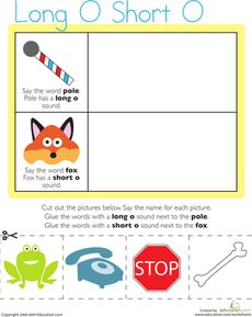 On this kindergarten reading worksheet, kids match picture names to items representing the long O and short O vowel sounds, then glue the pictures to the page. Beginning Of Kindergarten, Free Kindergarten Worksheets, Writing Worksheets, Kindergarten Reading, Alphabet Worksheets, Short O Sound, Letter Sound Activities, Basic Sight Words, Vowel Sounds