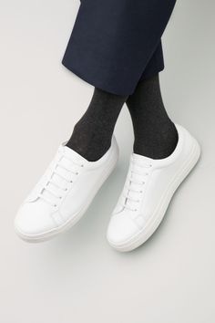 COS Lace-up leather sneakers in White