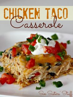 Chicken Taco Casserole Ingredients: 1 (10 oz) bag tortilla chips 2 (10.75 oz) cans cream of chicken soup 1 1/2 cups sour cream 1 (14 oz) can diced tomatoes and green chilis (Ro-tel) 1 can black beans, rinsed and drained 1 (1 oz) packet taco seasoning 3 cups chicken, cooked and shredded 2 cups cheddar cheese