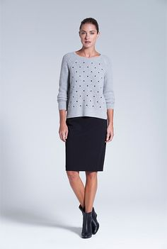 Embroidered Spot Knit [Wear with long white collard shirt]