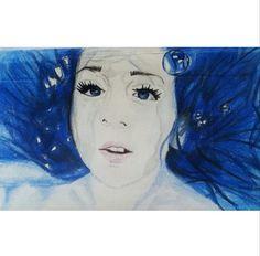 A4 Pencil Crayon Self Portrait 'Me in the bath' - 2013 - A2 Fine Art