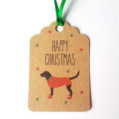 Dog Christmas Gift Tags 5 Pack-Black Labrador gift tags