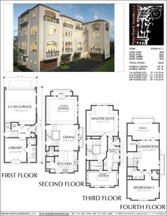 Two story townhouse floor plans narrow yahoo image for 2 story townhouse designs