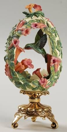 """FABERGÉ eggs__ """"Jewels in the Garden """". Franklin Mint Floral Hummingbird Egg, House Of Faberge. Jeweled Beauties of the Garden Egg Egg Crafts, Easter Crafts, Fabrege Eggs, Hummingbird Pictures, Aesthetic Objects, Carved Eggs, Franklin Mint, Miniature Figurines, Egg Art"""