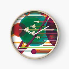'Tripping Thru the Galaxy' Clock by Modern Prints, Art Prints, Quartz Clock Mechanism, Free Stickers, Hand Coloring, Clocks, My Arts, Printed, Metal
