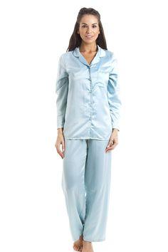 Luxury Light Blue Stunning Silk Feel Satin Pyjama Set Features A Long  Sleeved Button Up Top Full Length Pyjama Bottoms With Elasticated Waist  Machine ... c643373bd
