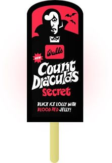 Walls Dracula lolly (Blood red jelly in the centre + a horror stencil on the stick - wonderful) Old Sweets, Vintage Sweets, Retro Sweets, 1970s Childhood, My Childhood Memories, Gi Joe, Red Jelly, Ice Cream Van, Count Dracula