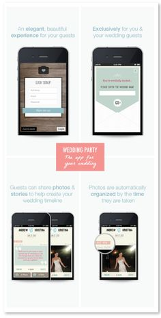 WeddingPartyApp Free version of the APP your wedding guests can download. All the pics taken with the app will automatically be uploaded to your online album in real time. Great way to share the experience with guests who can't make it. Also a great way to re-live the day in sequence. AWESOME Idea! I already made Sam & My App <3