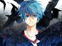 Anime boy with blue eyes and blue hair surrounded by crows