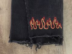 Most up-to-date Screen Fire embroidery 🔥 Thoughts I really like Jeans ! A… Most up-to-date Screen Fire embroidery 🔥 Thoughts I really like Jeans ! A…,embroidery inspo Most up-to-date Screen Fire embroidery 🔥 Thoughts. Embroidery On Clothes, Simple Embroidery, Shirt Embroidery, Embroidered Clothes, Diy Embroidered Jeans, Jeans With Embroidery, Embroidery Ideas, Diy Jean Embroidery, Towel Embroidery