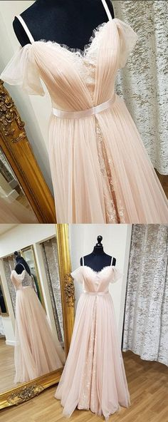 Chic Dresses A-line Spaghetti Straps Tulle Lace Long Sexy Dress