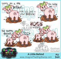 "No ""butts"" about it, this digi stamp set is super cute!"
