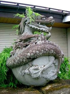 .dragon stone garden sculpture