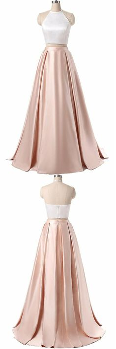 elegant champagne prom party dresses, fashion simple formal gowns, halter 2 pieces evening dresses.