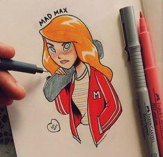 Artist: Alef Vernon #inktober #strangerthings #MadMax