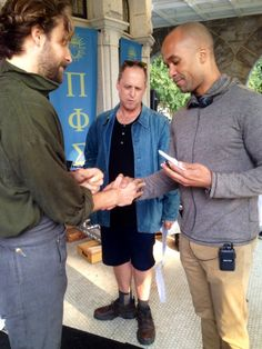 """Tom shows our writer @LDJackson a """"secret"""" Masonic handshake. Our director stands in awe… #SleepyHollow #BTS"""