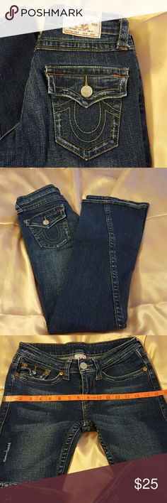 "True Religion boot cut jeans size 26  32""long Very nice boot cut jeans please don't ask me if it is real because I don't know it was a gift. Please take your measurements and compare with the jeans measurements before you do your purchase thank you ??? True Religion  Jeans Boot Cut"
