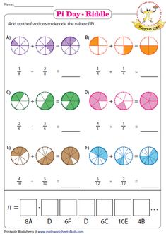 Pi Day printable worksheets contain word search, maze with area of circles, circumference of pies, pi day writing prompt and more fun activities. Math Fractions Worksheets, Learning Fractions, Adding Fractions, 4th Grade Math Worksheets, Maths Puzzles, 3rd Grade Math, Multiplication Activities, Teaching Math, Math Activities