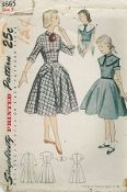 An original ca. 1940's to 1950's Simplicity Pattern 3665.  GIRL'S ONE-PIECE DRESS WITH DETACHABLE COLLAR: Bodice is styled with a high neckline. The flared skirt is four gored. Style 1 features a ribbon ascot and three quarter cuffed sleeves. Patch pockets adorn skirt. Buttons trim pointed cuffs and pocket flaps. Styles 1 and 2 have a small collar. Style 2 has short sleeves with round cuffs. Novelty braid trims collar, cuffs and edges of the detachable collar, worn under the dress collar.