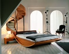The Most Unique Bed Frames For Bedroom Furniture Design. curved varnished wooden bed frame with bed side table and white shade table lamp combined with white striped pattern wood floor Contemporary Bedroom Furniture, Modern Bedroom Decor, Unique Furniture, Furniture Design, Blue Furniture, Furniture Ideas, Italian Furniture, Arranging Furniture, Wood Furniture