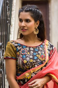 Black and mustard Kalamkari cotton blouse with pom pom edging