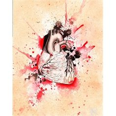 anatomic heart with flowers | Exploding Anatomical Heart by Christina Ramos Tattoo Artist Art Print