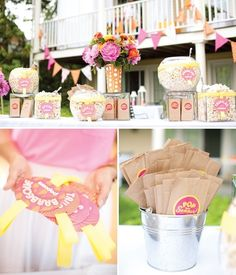 BBQ popcorn bar summer party food decor outdoors flowers country