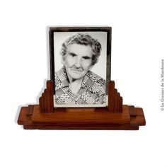 Ancien cadre porte photo en bois et verre biseauté 18 cm, déco rétro vintage