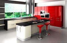 Cuina amb combinació de tres colors: vermell, blanc i negre