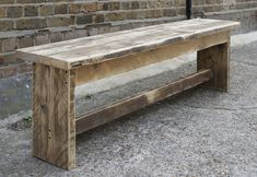 reclaimed wood bench- or a smaller one for foyer with shelf below for shoe tray. Reclaimed Wood Benches, Diy Wood Bench, Rustic Bench, Recycled Furniture, Rustic Furniture, Timber Bench Seat, Outdoor Garden Furniture, Outdoor Decor, Barn Wood Projects