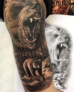 Grizzly half sleeve, two sessions, done with OTM tattoo machines #inked #inkedmag #nature #grizzlybear #tattoo #tattooart #tattooistartmag #skinartmag #savemyink #tattoosnob #myworldofink #tattoo_art_worldwide