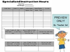 #mschat Need help in remembering the services needed for each student in your caseload? Use this free editable chart to record the specialized instruction number of hours and keep track of your special needs students in their LRE.