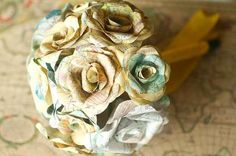 Upcycle old maps into bouquets: