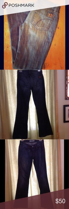 "Joes Jeans These Joe's Jeans are the Provocateur fit, which is considered a petite fit. They have been worn about 10 times, but are in great shape and have been well taken care of. I love the dark wash with the worn look. I am 5'2"" and they are just about a half inch too long on me. Joe's Jeans Jeans Boot Cut"