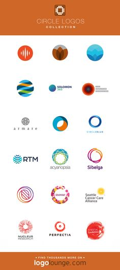 Logo Collection : Circle vector logo designs. Geometric, shapes, round, ball, sphere, dot. #logo #circles