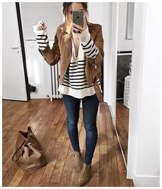 Outfit for every day fall. With another jacket for days of winter. Brown suede jacket + stripped seater + denim jeans + ankle booties outfit