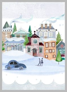 Christmas Snow Town Scene - By: Victoria Nelson