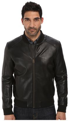 $349, Cole Haan Bonded Leather Varsity Jacket With Raw Edges. Sold by 6pm.com. Click for more info: https://lookastic.com/men/shop_items/326617/redirect