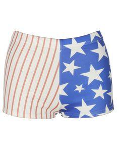 White Blue Stripe Star American Flag Shorts #Chiarafashion