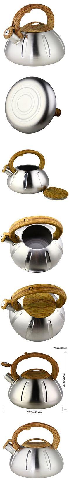 Riwendell Stainless Steel Whistling Tea Kettle 2.6-Quart Stove Top Kettle Teapot