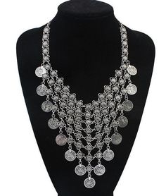 AntiqueTibetan Silver Bohemian Style Gypsy Metal Carving Coin Flower Long Tassel Statement Necklaces