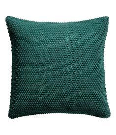 Moss-knit cushion cover - Dark green - Home All Knitted Cushion Covers, Knitted Cushions, Velvet Cushions, Find Furniture, Home Decor Furniture, Hm Home, Cotton Velvet, Woven Cotton, Cotton Fabric