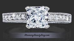 Radiant Engagement Ring Video showing a handcrafted Palladium setting, with the option of White Gold or Platinum.    Shown in this movie is an absolutely gorgeous setting with .20 ctw of high quality round accent diamond, and a sparkling 1.12 carat radiant center diamond with Excellent cut grade., GIA certified diamond.  Making this radiant engagement ring a total of 1.32 carat diamonds.  Although a radiant diamond is showcased in the center of this lovely setting, additional diamond shapes…
