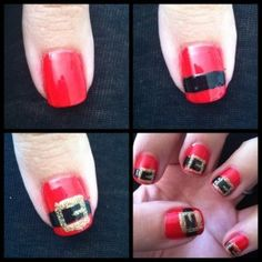 Draw Santa's belt on your nails! #diy #nailart http://www.rewards4mom.com/10-nail-designs-for-christmas/
