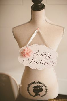 beauty station - fun idea for a reception powder room. add some pearls, some perfume, and a basket of bathroom essentials! Wedding Signs, Diy Wedding, Dream Wedding, Wedding Day, Wedding Reception, Wedding Stuff, Bathroom Basket Wedding, Boutique Decor, Wedding Activities