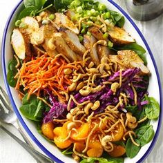 Ginger-Cashew Chicken Salad Recipe- Recipes  I revamped an Asian-style chicken salad recipe to create this gingery, crunchy salad. Now it's a huge success when I serve it at ladies luncheons. —Shelly Gramer, Long Beach, CA
