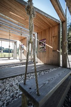 Cute a series of timber frames playing with solid and void forms a multi functional structure